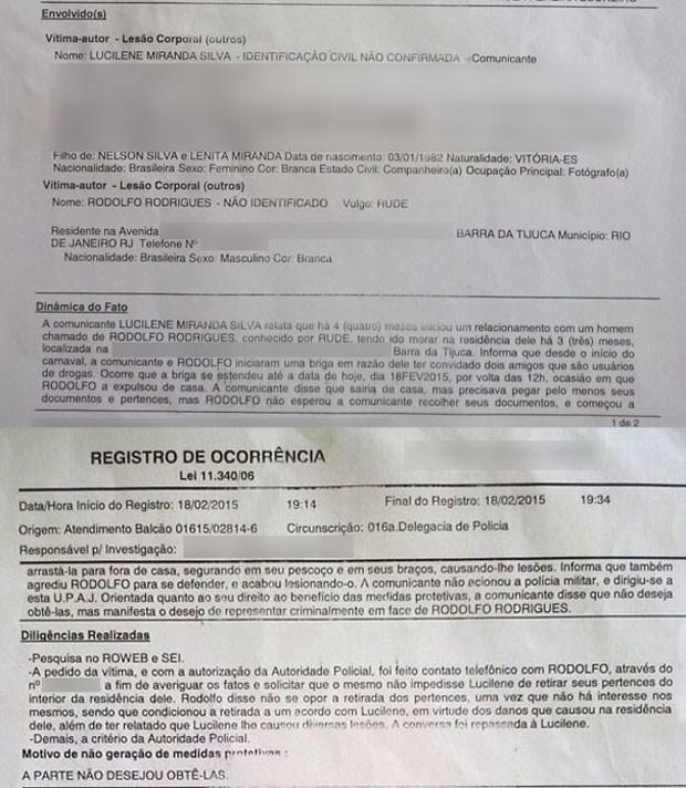Boletim de ocorrência que Lucilene fez no dia 18 de fevereiro (Foto: Reprodução/Polícia Civil)