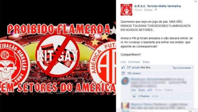 Facebook Torcida organizada do América-RN ameaça torcida do Flamengo (Foto: Reprodução/Facebook)