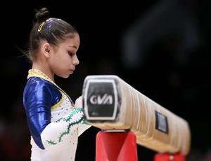 Flávia Saraiva no treino de pódio do Mundial de ginástica (Foto: Ricardo Bufolin/CBG)