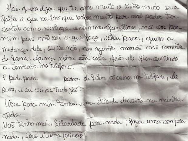 Em trecho da carta, jovem revelou os abusos que sofria e disse que estava presa dentro da própria casa (Foto: Divulgação)