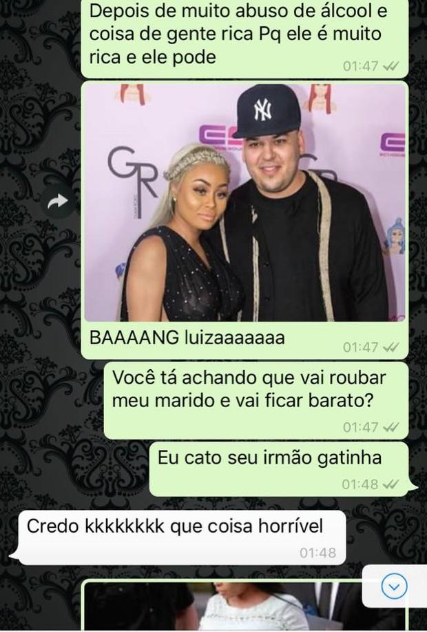 Dossiê sobre as Kardashians no Whatsapp (Foto: Reprodução)