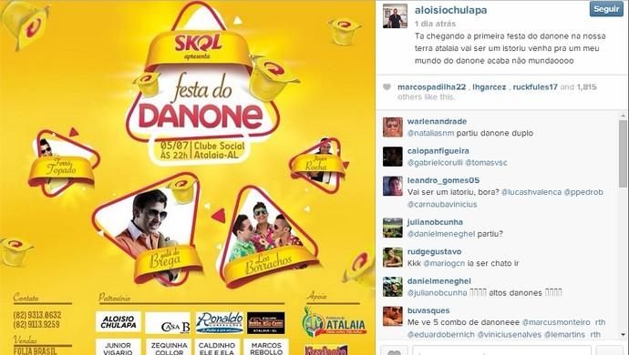 """Aloísio Chulapa apresentou aos seus seguidores do Instagram a """"Festa do Danone"""" (Foto: Reprodução/ Instagram)"""