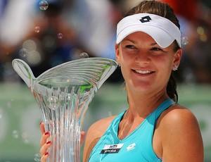 Agnieszka Radwanska tênis Miami final troféu (Foto: Getty Images)