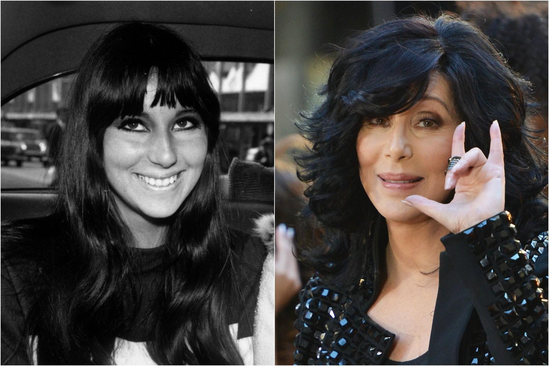 Cher em 1965 e nos dias de hoje. (Foto: Getty Images)