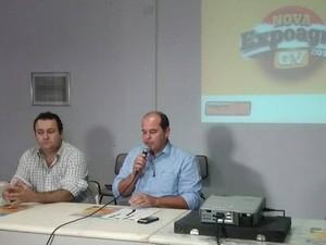 O empresário João Wellington e André Merlo, presidente da União Ruralista Rio Doce (URRD), falaram sobre a ExpoagroGV. (Foto: Diego Souza/G1)