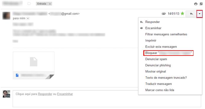 Bloqueio funciona de forma semelhante a um filtro, mas é mais rápido de configurar (Foto: Reprodução/Gmail)