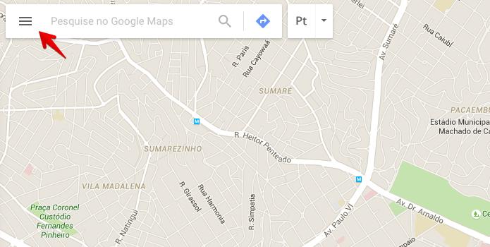 Acesse o menu do Google Maps (Foto: Reprodução/Helito Bijora)
