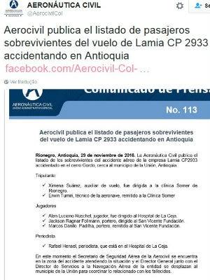 Nome do goleiro Danilo está na lista de sobreviventes divulgada pela agência de aviação colombiana (Foto: Reprodução / Twitter)