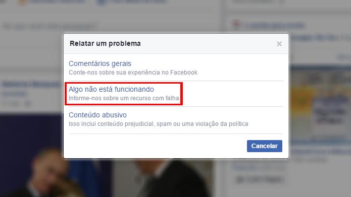 Menu pode ser usado para denunciar vários tipos de problemas no Facebook (Foto: Reprodução/Facebook)