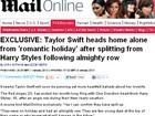 Taylor Swift volta sozinha para os EUA após terminar namoro, diz site