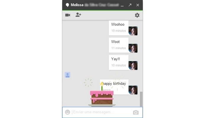 Bolo de aniversário é um dos easter eggs do Hangouts (Foto: Reprodução/Raquel Freire)