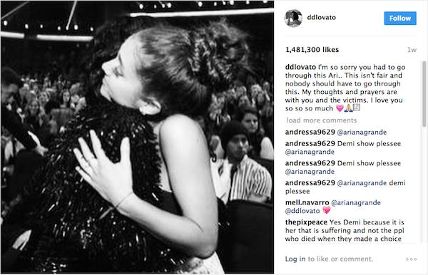 A homenagem feita por Demi Lovato à amiga Ariana Grande logo em seguida ao atentado ocorrido em Manchester (Foto: Instagram)