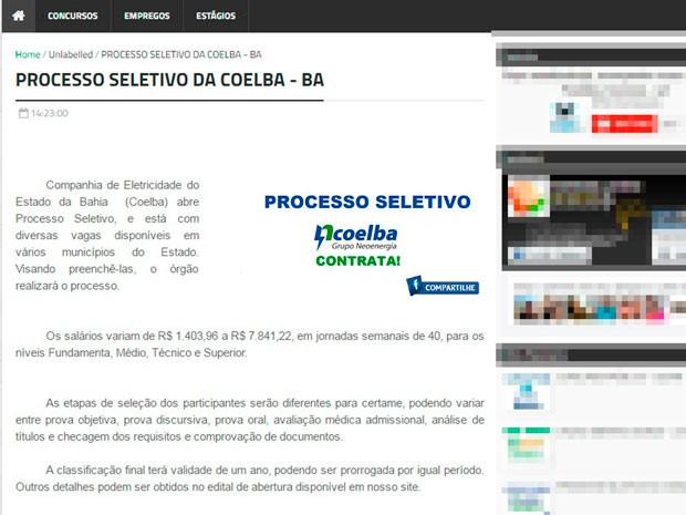 Site divulga falso processo seletivo da Coelba (Foto: Reprodução)