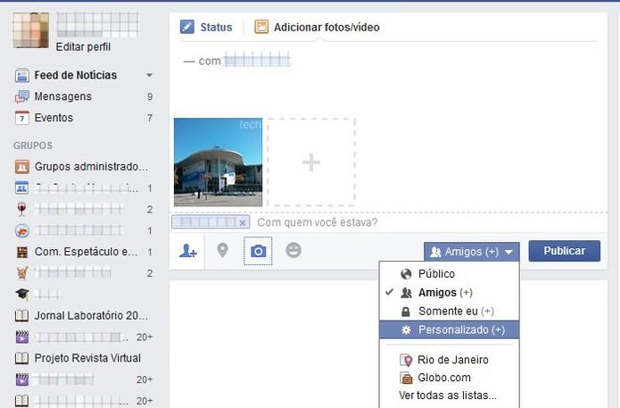 """Clique em """"Personalizado"""" nas configurações do Facebook (Foto: Reprodução/Barbara Mannara)"""