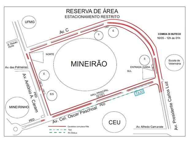 Mapa de alterações no entorno do Mineirão, em BH (Foto: BHTrans / Divulgação)