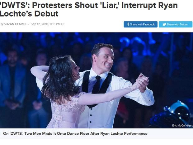 Ryan Lochte e parceira durante o programa Dança com as estrelas, da ABC (Foto: Reprodução / Site ABC News)