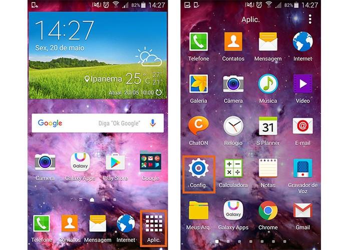 Acesse as configurações do Galaxy S5 (Foto: Reprodução/Barbara Mannara)