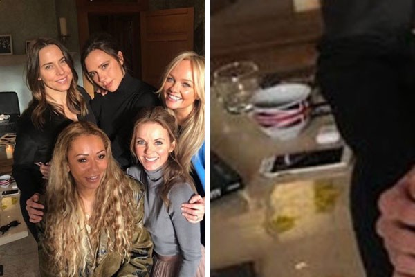 A icônica foto com o quinteto reunido e um close sobre o elemento suspeito: pó branco ou reflexo de vela? (Foto: Reprodução/Instagram)