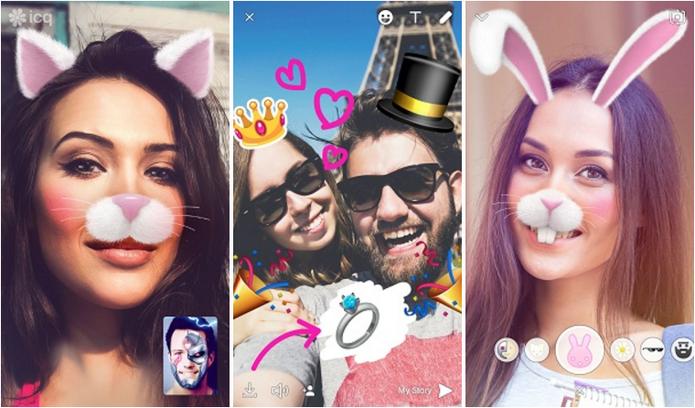Masks já estão disponíveis na nova versão do ICQ para iOS (Foto: Divulgação/ICQ)
