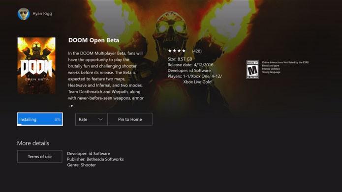 Abra a loja do Xbox One no seu console e procure pelo Doom Beta (Foto: Reprodução/Youtube)
