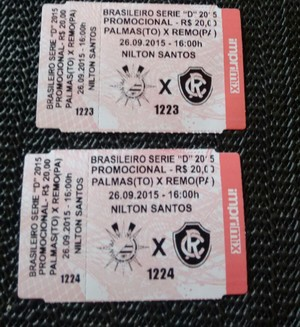 Ingressos para jogo do Palmas no estádio Nilton Santos (Foto: Divulgação)