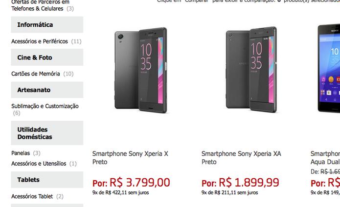 Xperia X e Xperia XA em loja online (Foto: Reprodução)