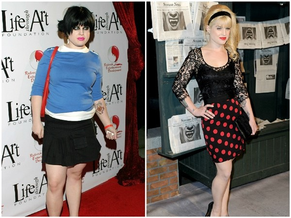 Kelly Osbourne em 2003 e 2010 (Foto: Getty Images)