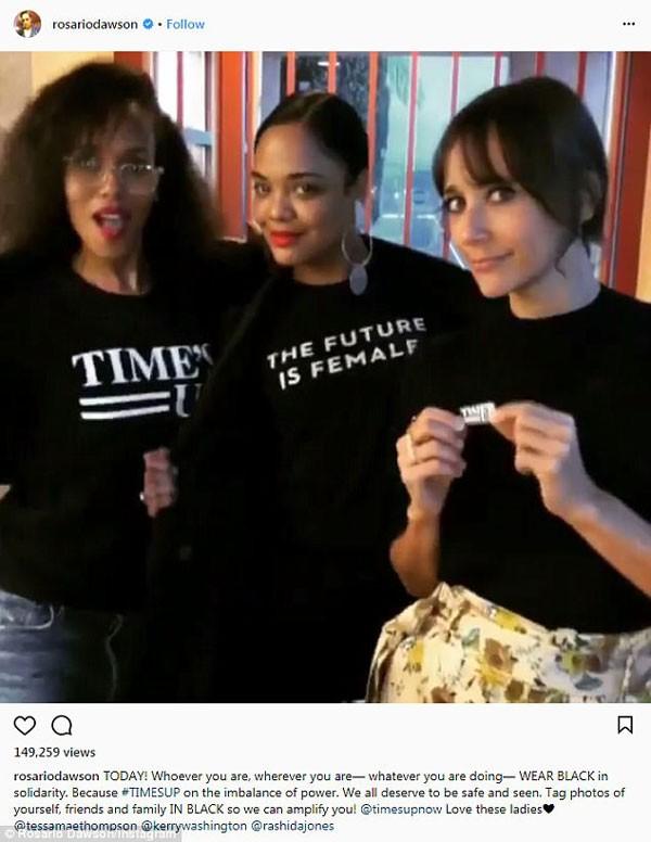 A atriz também postou o seu apoio ao movimento Times Up, que combate os assédios na indústria (Foto: Reprodução/Instagram)