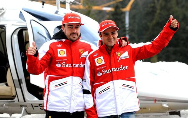 Alonso e Massa em Madonna di Campiglio evento Ferrari (Foto: Reuters)
