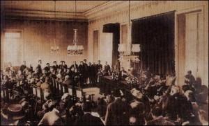 Sessão pública da Academia Brasileira de Letras em 1909 (Foto: Divulgação/ABL)