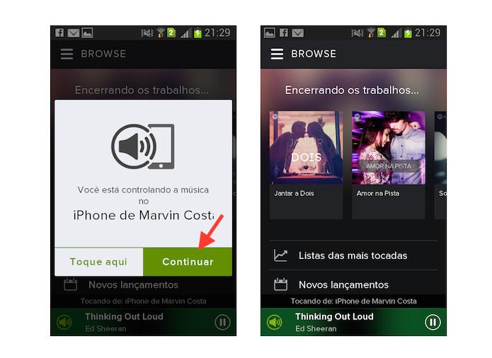 Ativando o controle remoto de mídia em um dispositivo com Spotify (Foto: Reprodução/Marvin Costa)