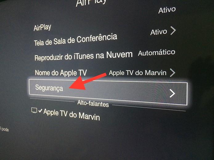 Acessando as configurações de segurança para o AirPlay da Apple TV (Foto: Reprodução/Marvin Costa)