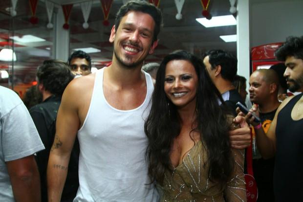 João VIcente de Castro e Viviane Araújo na quadra do Salgueiro (Foto: Anderson Borde/Agnews)