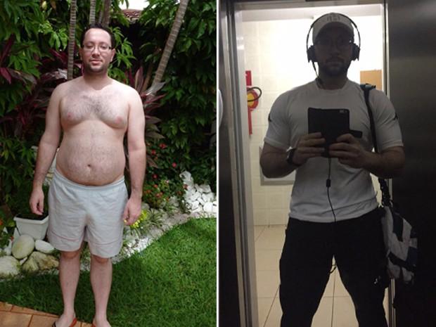 Helio, antes e depois do regime que o fez emagrecer mais de 20 kg (Foto: Arquivo Pessoal)