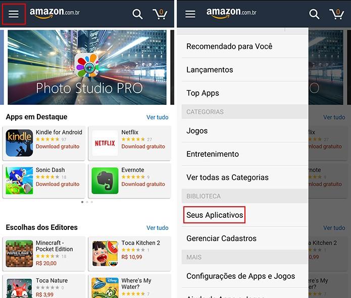 Amazon Appstore exige que usuário procure por atualização de apps manualmente no Android (Foto: Reprodução/Elson de Souza)