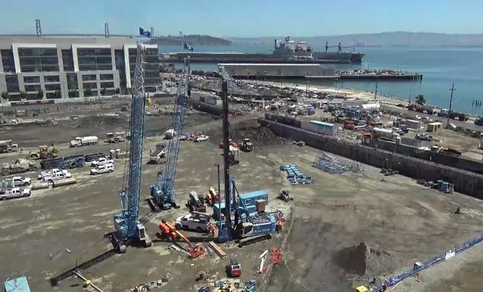 Novo ginásio do Golden State Warriors está em construção em San Francisco (Foto: Reprodução)