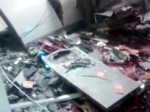 Caixa eletrônico foi alvo de criminosos em Limeira (Foto: Reprodução/EPTV)