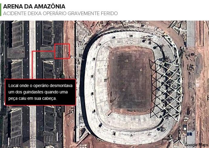 Info ACIDENTE ARENA DA AMAZÔNIA (Foto: Infoesporte)