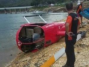 Vítimas de helicóptero que caiu em Capitólio tiveram ferimentos leves (Foto: Júnior Oliveira/Arquivo Pessoal)