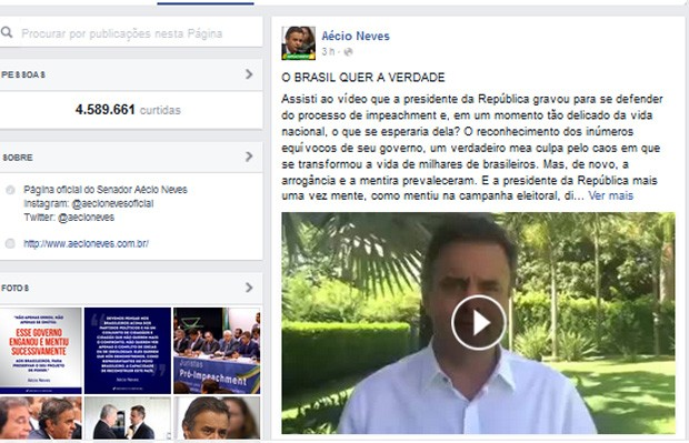 Senador Aécio Neves em vídeo divulgado no Facebook (Foto: Reprodução/Facebook)