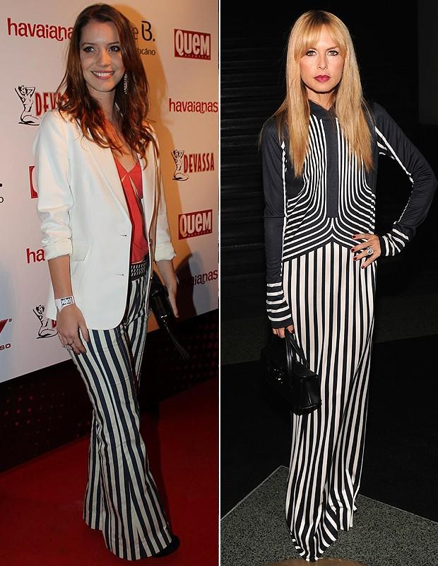 Nathalia DIll foi na festa da QUEM com a calça. À direita, a stylist Rachel Zoe (Foto: AG News e Getty Images)