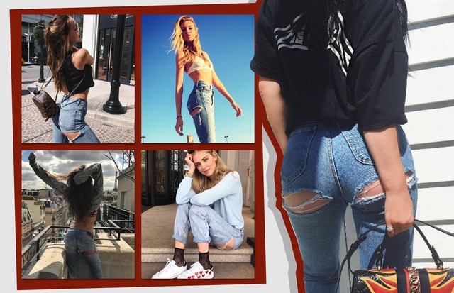 Jeans rasgado no bumbum? É esta a peça hit entre as fashionistas  (Foto: Reprodução/Instagram)