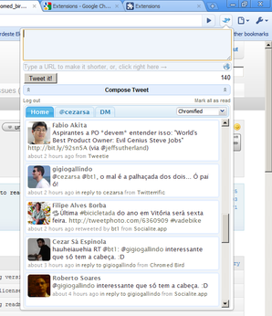 Interface do Chromed Bird