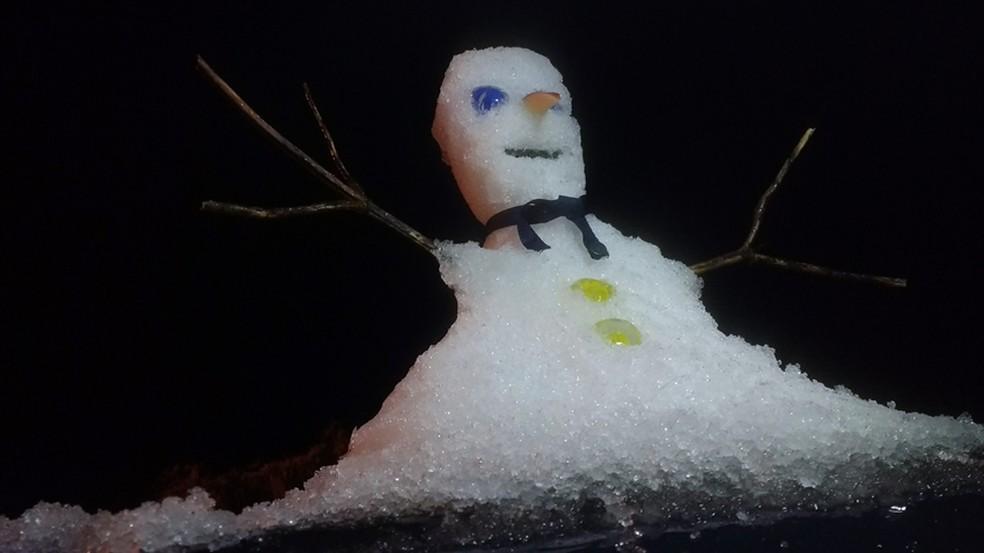 Moradores fizeram boneco de neve na noite de segunda-feira (Foto: Mycchel Hudsonn Legnaghi/São Joaquim Online)