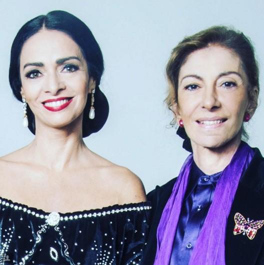 Claudia Ohana e Marília Pêra durante as sessões de fotos de Callas (Foto: Reprodução Instagram)