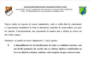Recurso contra resultado do Bolsa Atleta Municipal de Teresina (Foto: Reprodução)