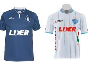 Prévia das camisas de Remo e Paysandu com o novo patrocinador. Imagem foi divulgada em uma rede social por Joelson Rodrigues, um dos diretores do Grupo Líder (Foto: Reprodução/ Facebook)