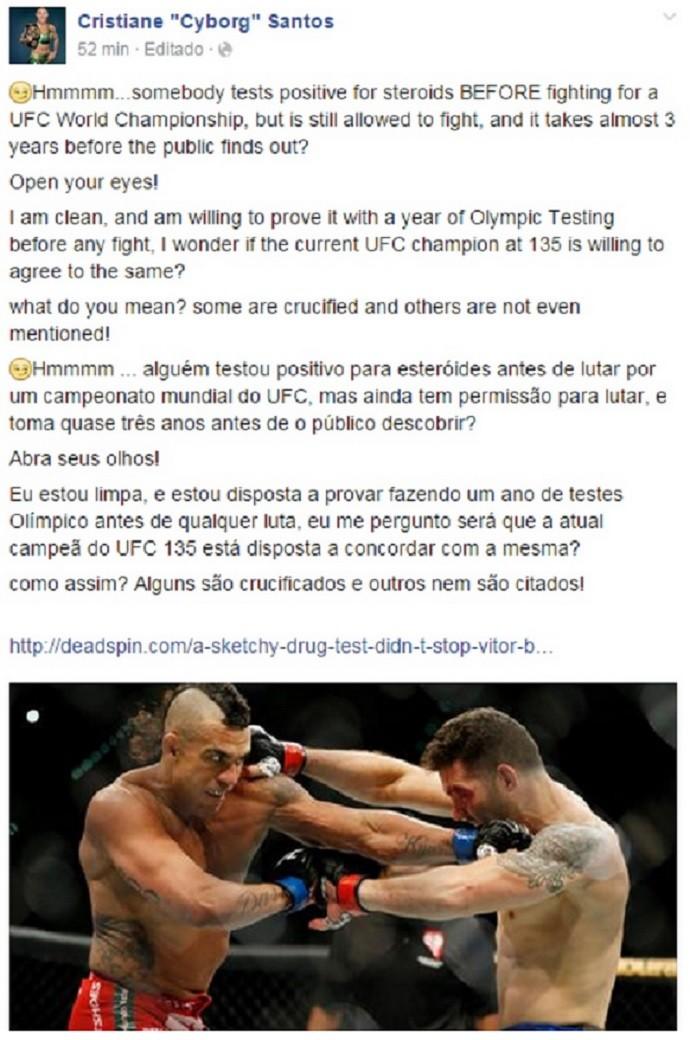 Cris Cyborg Teste Vitor Belfort UFC