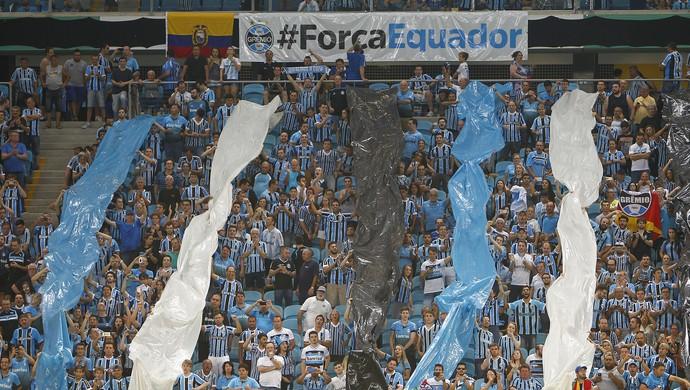 Torcida Grêmio Arena Faixa Força Equador  (Foto: Lucas Uebel/Grêmio)