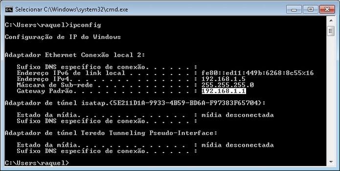 Número do Gateway Padrão do roteador Wi-Fi destacado (Foto: Reprodução/Raquel Freire)
